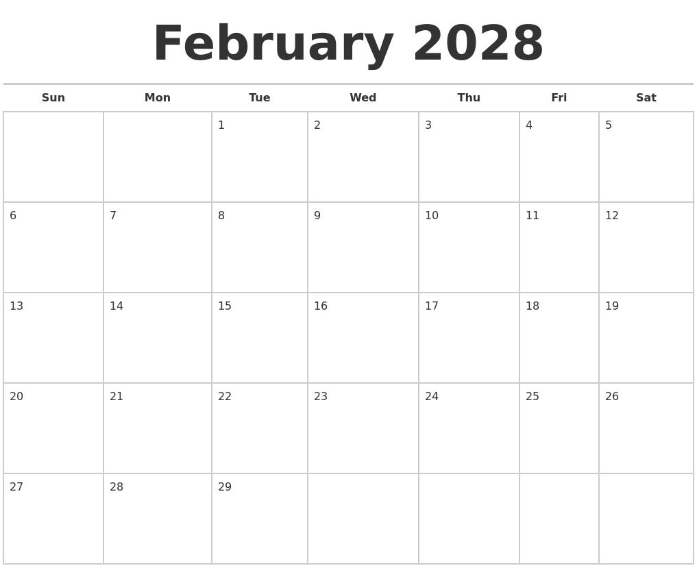 february 2028 calendars free