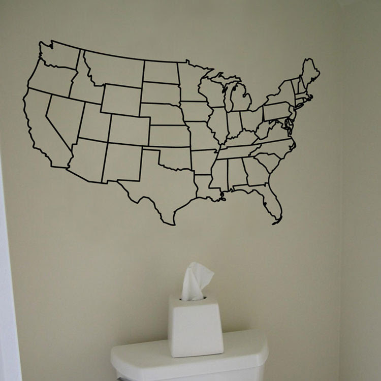 United States Map Wall Mural.Us Map Decal World Map Interactive