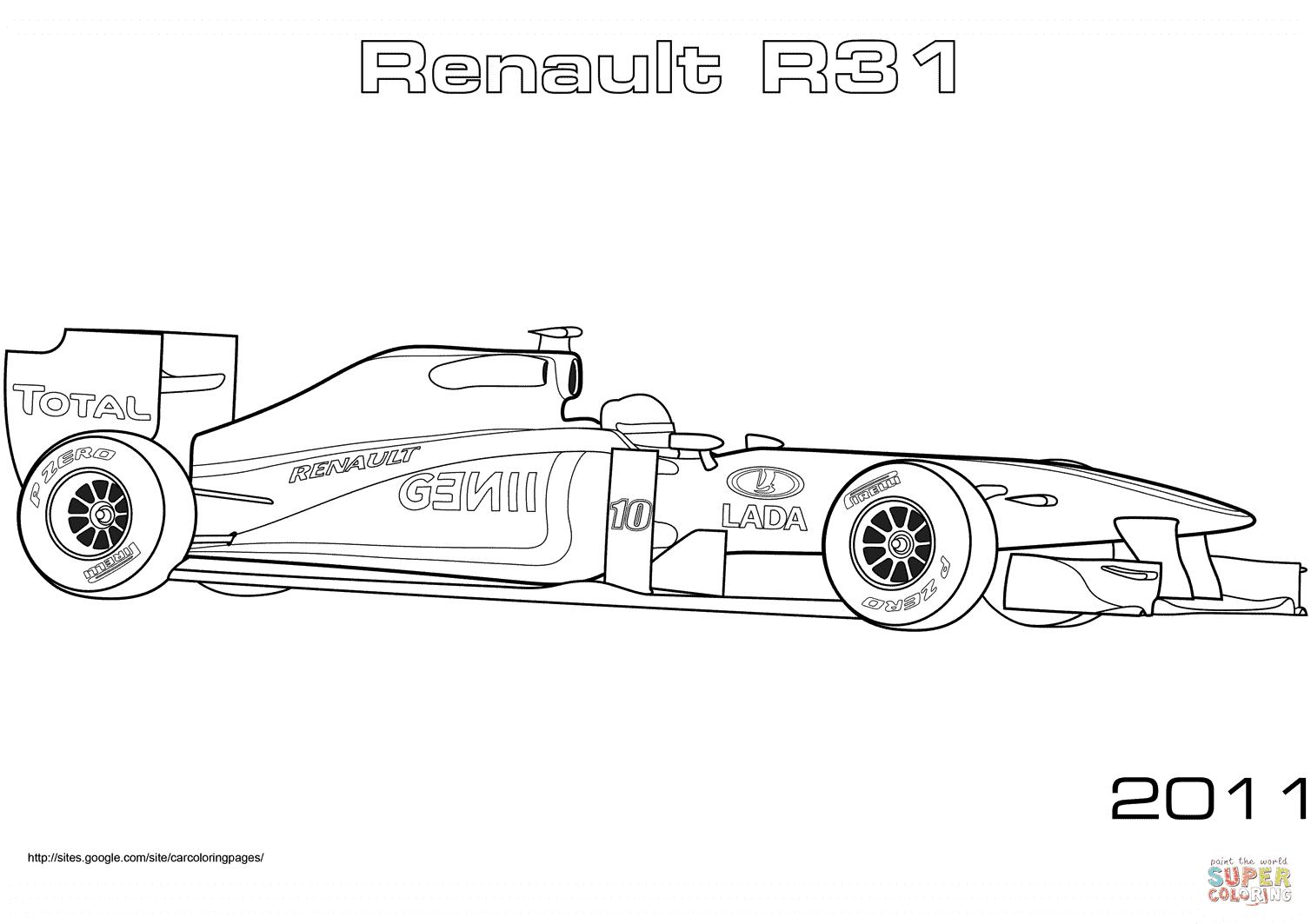Formule 1 Renault R31 coloriages pour visualiser la version imprimable ou colorier en ligne patible avec les tablettes iPad et Android