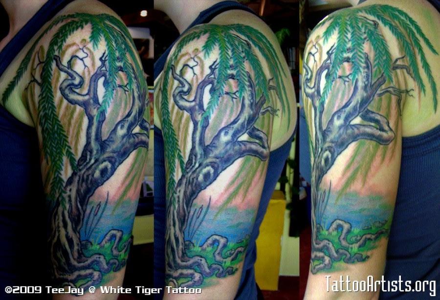 Half Sleeve Weeping Willow Tattoo Designs Tattoomagz