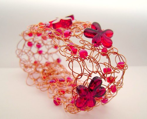 red flower cuff