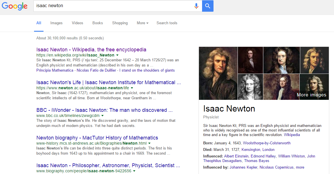 A screenshot of Google search results for 'Isaac Newton', which show Wikipedia as the top search result, but also display a brief biography drawn from Wikipedia on the right hand side, giving information on his occupation, birth and death dates, and influences.