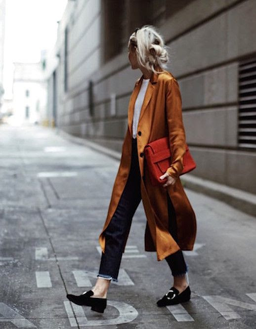 Le Fashion Blog Orange Silk Jacket Frayed Jeans Red Clutch Velvet Loafers Via Happily Grey