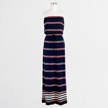 Factory stripe strapless jersey maxidress