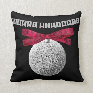 Silvery Glitter Christmas Ornament Throw Pillow