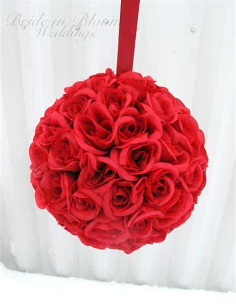 Red Pomander Kissing Ball Flower Girl Rose Floral