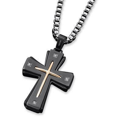 Triton Men's Diamond Accent Cross Pendant in Stainless