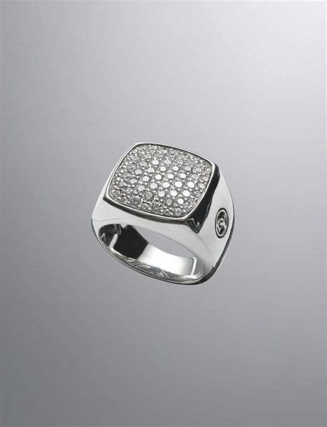David Yurman Signet ring for men: diamonds, silver   Dream