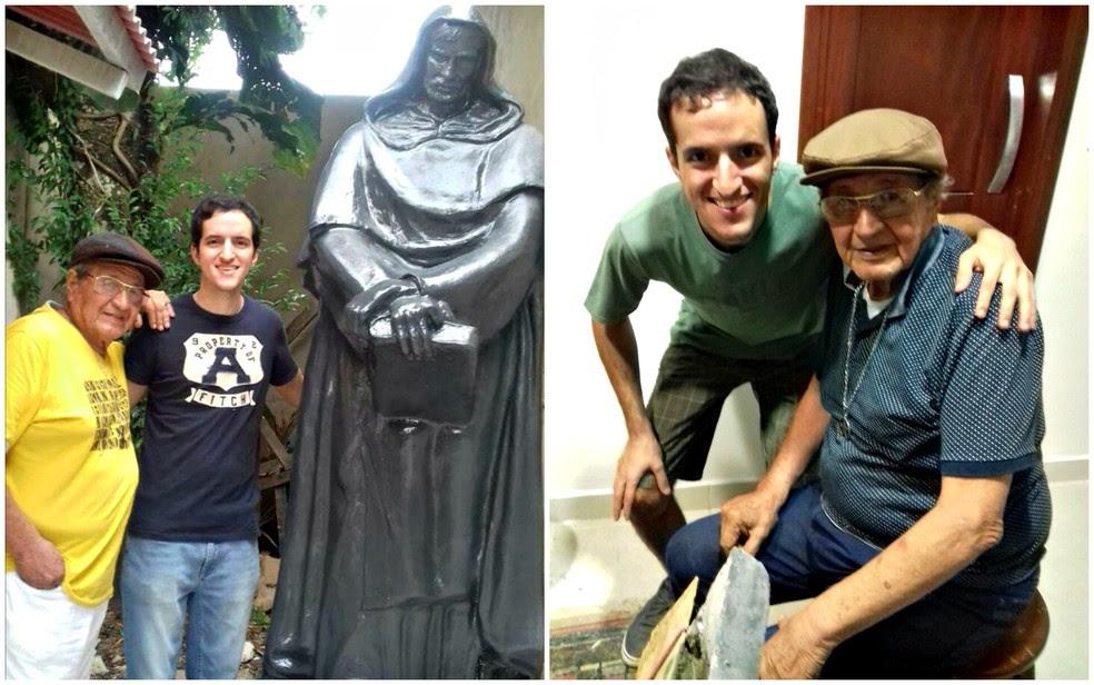 Artista responsável pela escultura fixou estátua no quarto dias antes do jovem desaparecer (Foto: Arquivo pessoal)