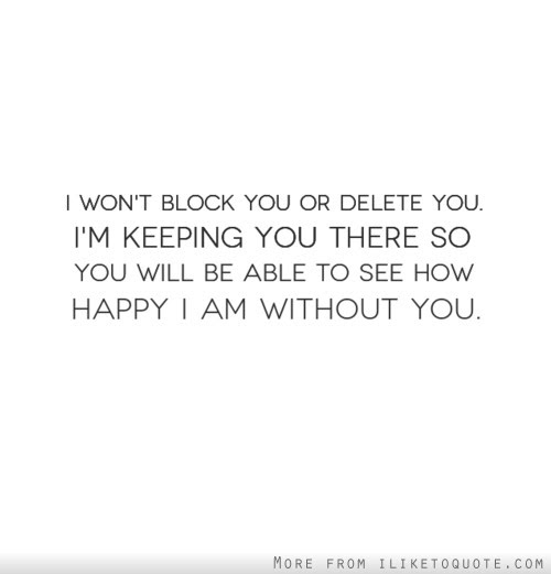I Wont Block You Or Delete You Im Keeping You There So You Will