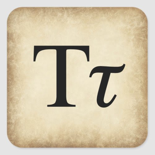 Greek Alphabet Letter Tau Square Sticker