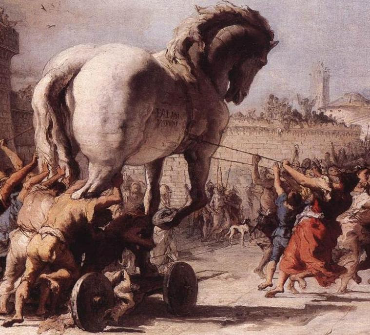 A 19th Century painting of the fabled Trojan Horse.