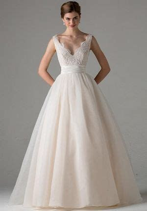 V Neck A Line Wedding Dress with Natural Waist in Tulle