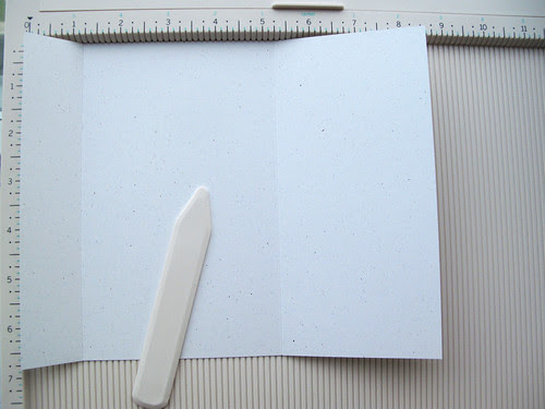 2) Cut cardstock to be 8 and 1-2 x 6 and 3-4 inches -Score at 1 and 1-8 and 5 and 1-4 inches