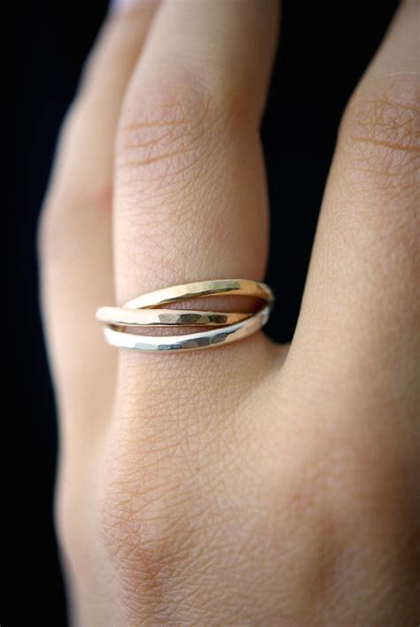 interlocking rings sterling silver  gold fill