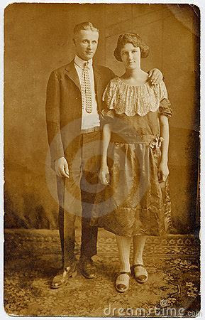 1920's Couple Wedding Portrait Stock Photography   Image