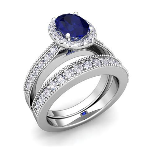 Milgrain Diamond Sapphire Engagement Ring Bridal Set