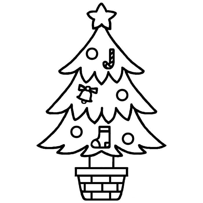 ツリー1白黒ツリー1クリスマスのイラスト素材