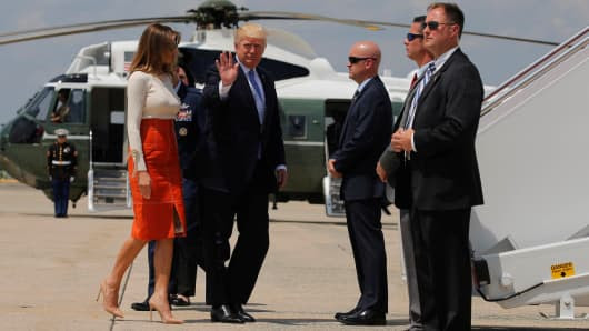 President Donald Trump and first lady Melania Trump board Air Force One for his first international trip as president, including stops in Saudi Arabia, Israel, the Vatican, Brussels and at the G7 summit in Sicily, from Joint Base Andrews, Maryland, U.S. May 19, 2017.