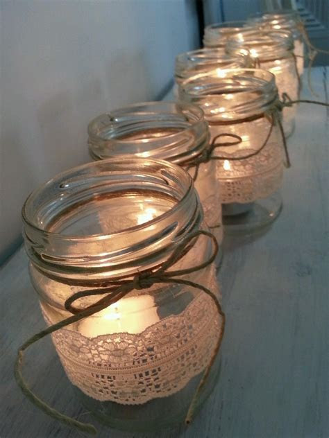 rustic lace glass jar candle holder wedding christmas