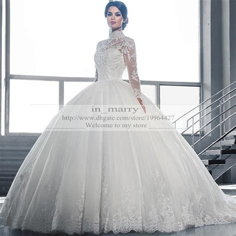 Victorian Arabic Long Sleeves Ball Gown Wedding Dresses