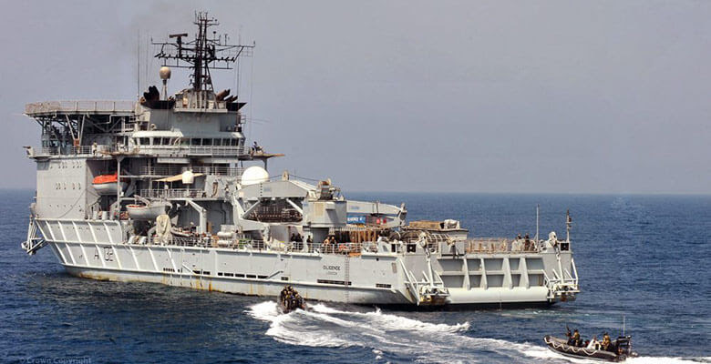 As sea in the Gulf, RFA Diligence acts as target ship for RN boarding training