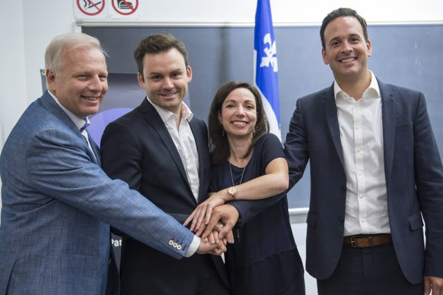 Jean-Francois Lisée, Paul St-Pierre Plamondon, Martine Ouellet et... (Photo Paul Chiasson, archives La Presse Canadienne)