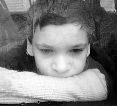 Aidan in rain B+W