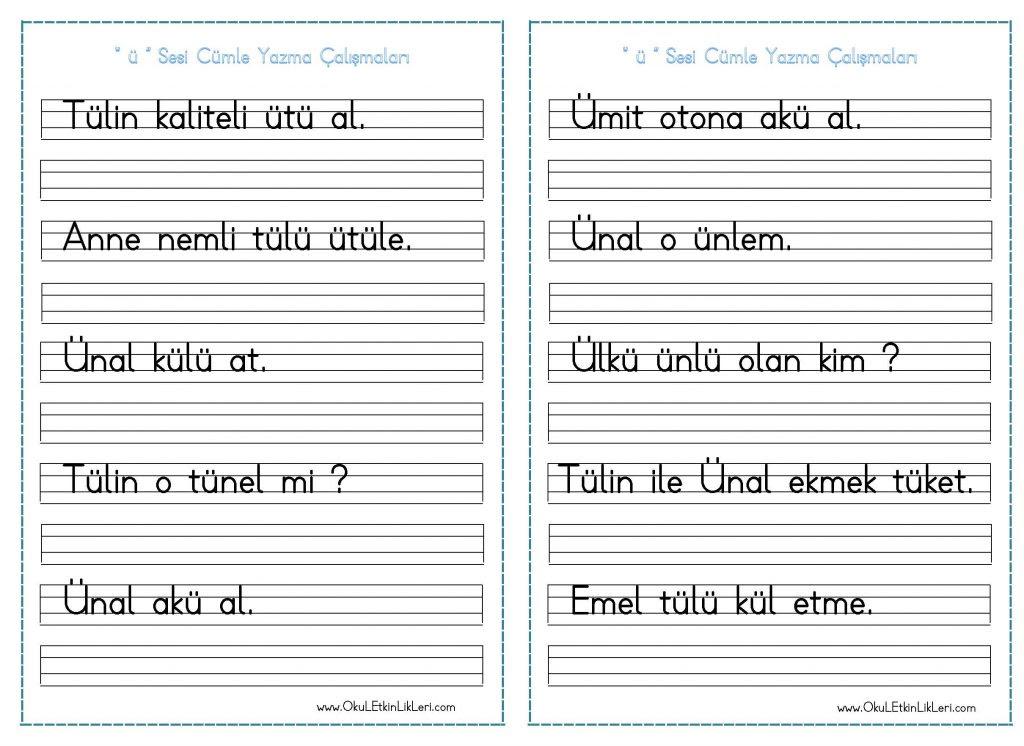 ü Sesi Cümle Yazma çalışmaları Seyit Ahmet Uzun Eğitime Yeni