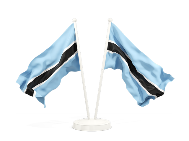 Two Waving Flags Illustration Of Flag Of Botswana
