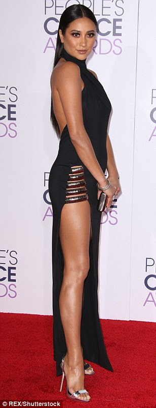She's certainly not shy: Pretty Little Liars star Shay Mitchell left little to the imagination as she appeared to go without underwear in a sexy black number byHaney