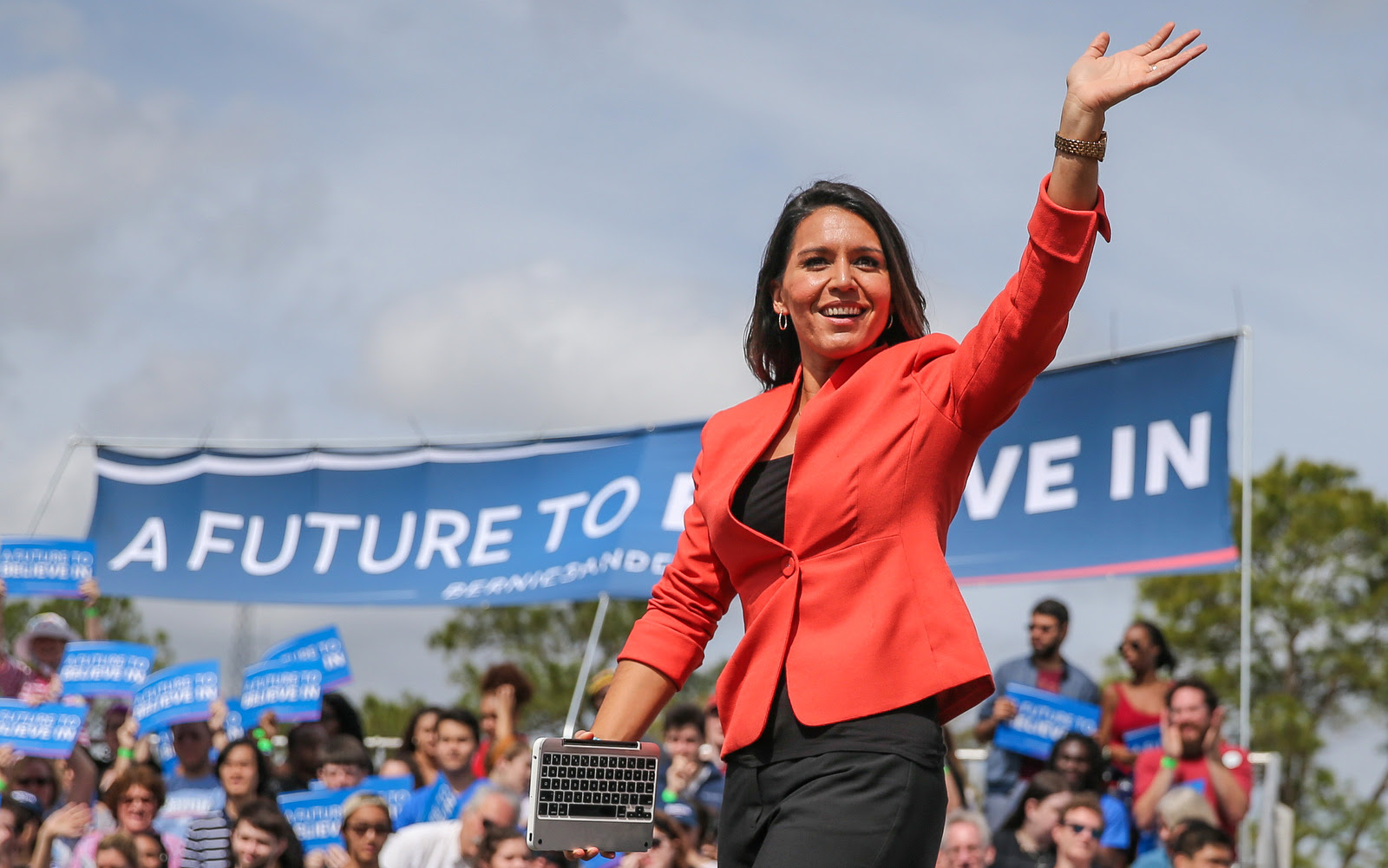 Rep. Tulsi Gabbard, D-Hi., arrives to introduce Democratic presidential candidate, Sen. Bernie Sanders, I-Vt., at a campaign rally at the University of Florida in Gainesville, Fla., March 10, 2016. (AP/Gary McCullough)