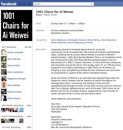 1001 Chairs for Ai Weiwei