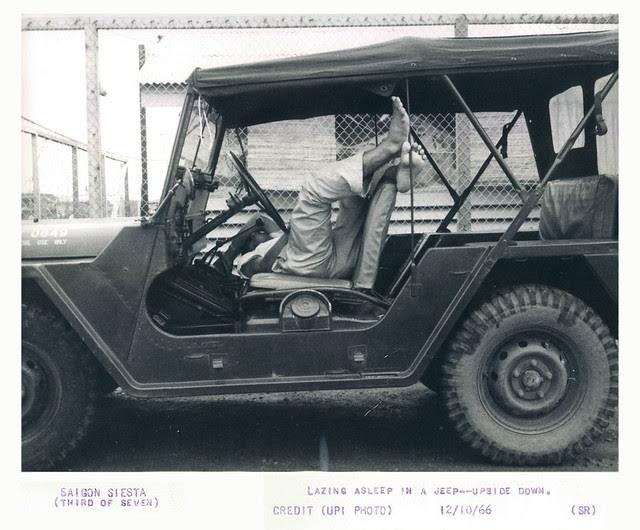 1966 Saigon Siesta Man Lazing Asleep in Official Jeep Upside Down