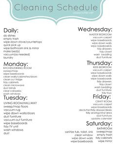 Weekly housekeeping schedule   Cleaning & Organization   Pinterest ...