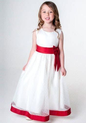 Girls Red & Ivory Satin Bow Flower Girl Bridesmaid Dress