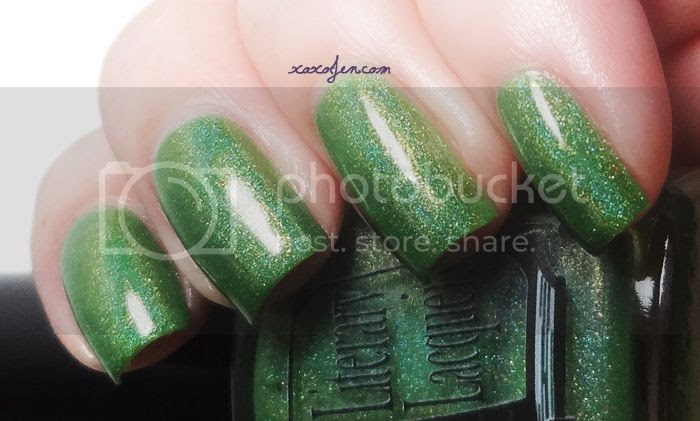 xoxoJen's swatch of Literary Lacquer Leaping Greenly for Indie-Go Box