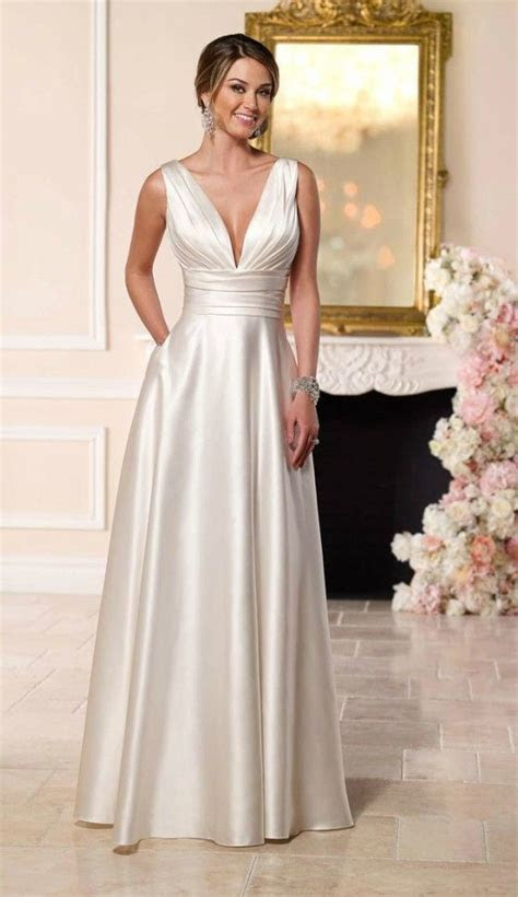 Simple Elegant Satin Wedding Dress for Older Brides Over