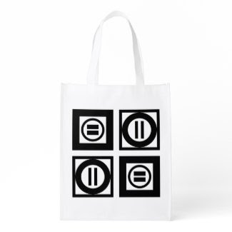 Black and White Geometric Equal Sign Pattern Bag Market Totes