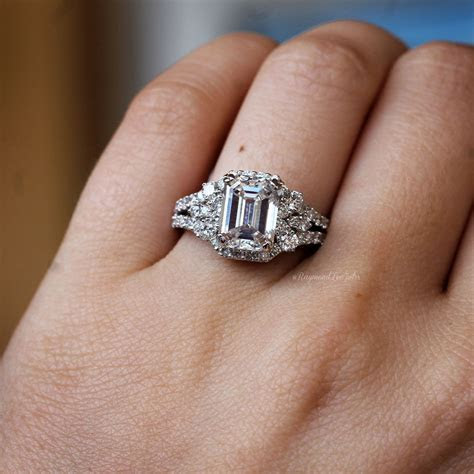 18k White Gold GIA 3ct Emerald Cut Diamond Engagement Ring