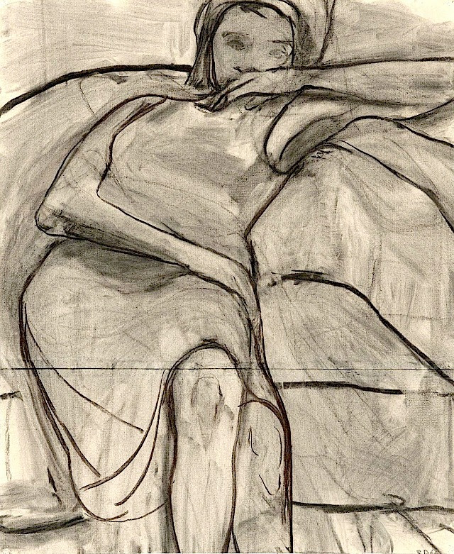 Untitled (Woman on Sofa)1966  Richard Diebenkorn  charcoal on joined paper 72 × 59 cm.  The Richard Diebenkorn Foundation