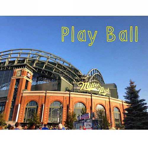 Lady on Harley brings in the game ball. #brewers #lastplace #freegrub