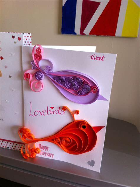 Quilled Lovebirds Handmade Anniversary Card   Sammy Handmade
