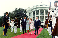 Gerald and Betty Ford escort Richard and Pat N...