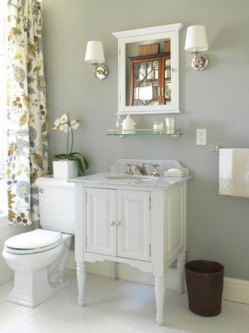 Farrow & Ball grey paint in Lamp Room Gray bathroom
