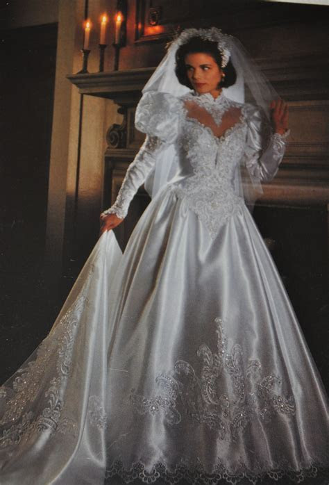 90s wedding dress, big shoulders and sleeves became a