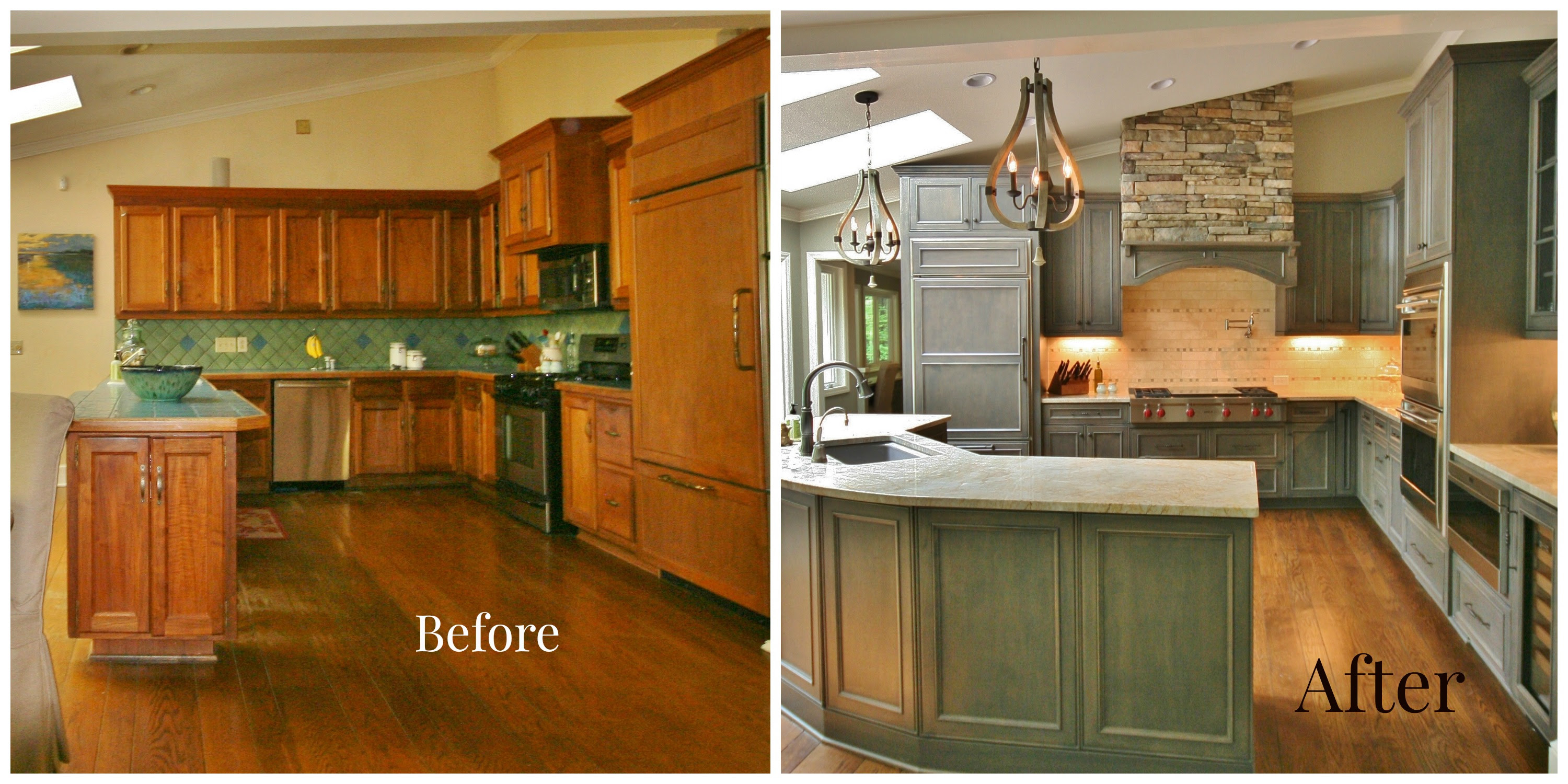 kitchen renovations before and after with turqouise cabinets with granite countertop plus tile back splashes and sink and chandeliers plus wood laminating floor1