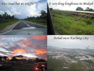 road, sunset, longhouse and Kuching City from the air