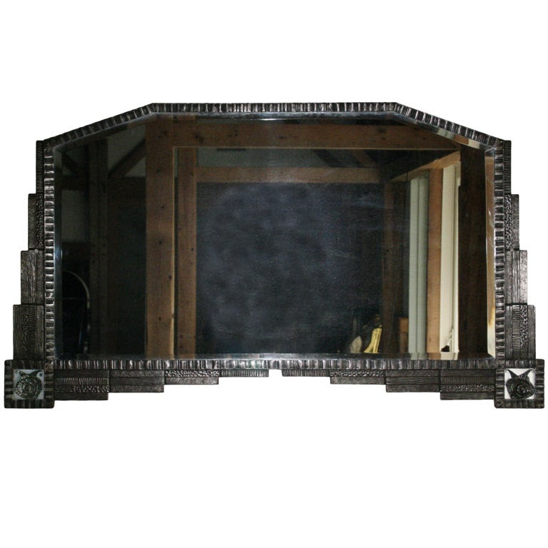 French Art Deco Pewter Roses Wall Mirror at 1stdibs