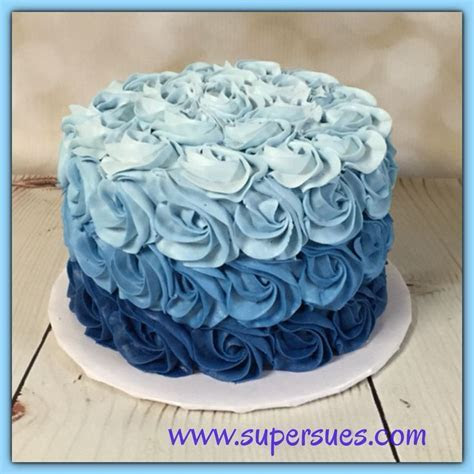 Ombre blue buttercream rose smash cake   Smash cakes